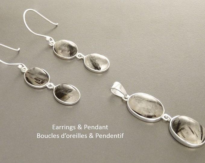 Black Quartz Earrings Set, Sterling Silver, Clear Rutile Quartz Gemstone Pendant, Modern Minimalist Necklace, Veined Mineral Jewelry