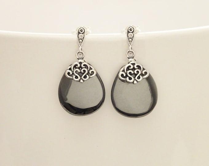 Hematite Silver Earrings - Sterling Silver - Hematite Gemstone - Grey - Dangle Earrings - Filigree Earrings - Elegant - Shabby chic earrings