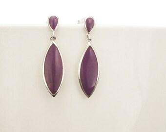 Purple Dangle Earrings - Sterling Silver Earrings, Violet Oval Almond Shape, Bright Purple Earrings, Dainty Earrings, Silver Jewelry.
