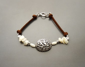 Boho Leather Bracelet, Sterling Silver, Raw White Mother of Pearl Shell, Vintage Stone Baroque Filigree jewelry, Brown Leather Cord Bracelet