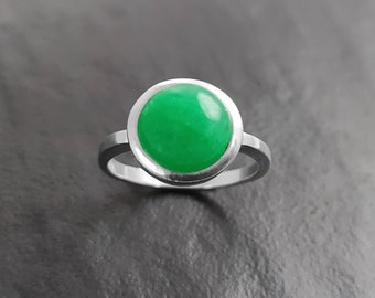 Green Jade Ring, Sterling Silver, Round Green Stone Ring, Genuine Imperial Jade Gemstone Birthstone Jewelry, Modern Minimalist Style Gift
