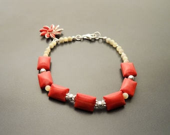 Red Stone Bracelet, Sterling Silver, Red Jasper Stones, Square Bracelet, Genuine White Round Shell Pearls, Red Stone Flower Charm