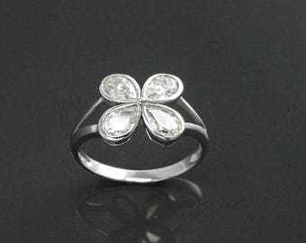 Ring, Sterling Silver, White Clear Stones (CZ), Modern Flower Petal Ring, Minimalist Stone Jewelry, Clover, for Woman