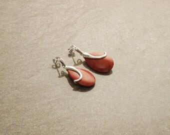 Red Coral Earrings, dyed gorgon Earrings Oval Red Modern Sterling Silver Earrings Teardrop Dangle Earrings party evening cocktail
