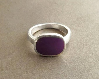 Purple Square Ring - Sterling Silver, Violet Rectangle Ring,  Purple Stone - Modern, Design Ring - Handmade, Designer Ring, Gift.