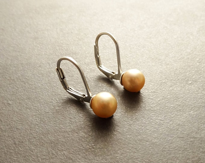 6 mm GENUINE Gold Shell Pearl Earrings, Sterling Silver, Lever Back Earrings, Minimalist, Pearl Jewelry, Prom, Wedding, Bridesmaids Gifts