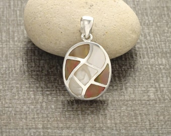 Brown Shell Bicolor Pendant, Sterling Silver, Stones Oval Necklace, White Mother of Pearl and Gold Paua Shell, Modern Geometric Jewelry