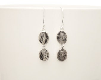 Gray Quartz Earrings, Sterling Silver, Two Black and White Rutilated Quartz Gemstone Jawelry, Modern Oval Stone Dangle Drop Earrings