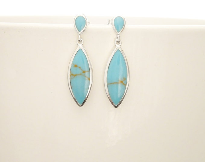 Turquoise Earrings, Sterling Silver 925, Dangle Long Turquoise Oval Stones, Gemstone Earrings, Dainty Bright Blue Veining Stone Jewelry