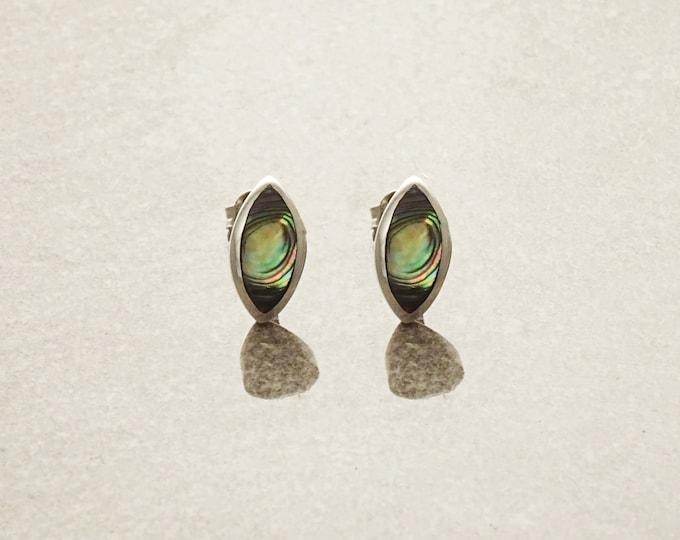 Real Paua Earrings, Sterling Silver, Abalone Shell, Oval Stud Earrings, Dainty Minimalist Oval Earrings, Blue Green Highlights Earrings