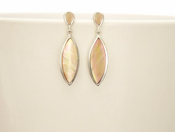 GENUINE Brown Paua Shell Dangle Earrings, Sterling Silver, Brown Pearl with Iridescent Rainbow Highlights, Geometric Oval Shape, Minimalist