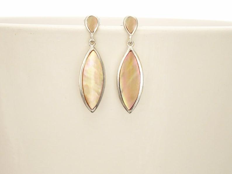 GENUINE Brown Paua Shell Dangle Earrings Sterling Silver image 0