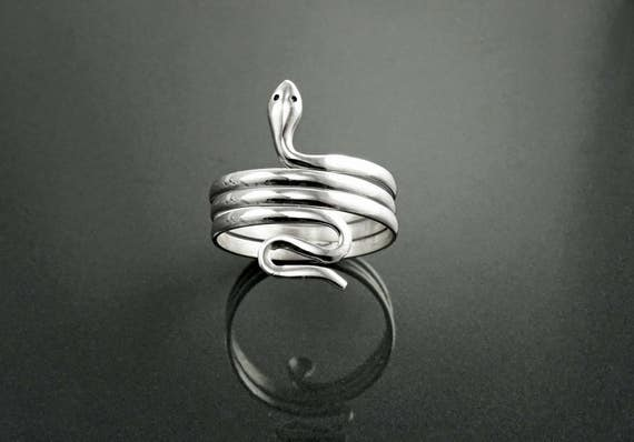 Snake Coil Ring, Sterling Silver, Coiling Snakes Ring, Spiral Cuff Ring, Wide Wrap Ring, Wrapped Reptilian Jewelry, Meandering Reptile Ring