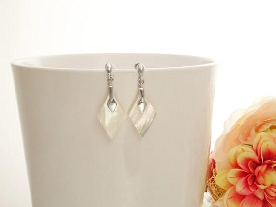 Shell Earrings - Shell Dangle Earrings - Sterling Silver Earrings - Diamond Shape - Pearl Earrings - Mother of Pearl - Bridesmaids earrings