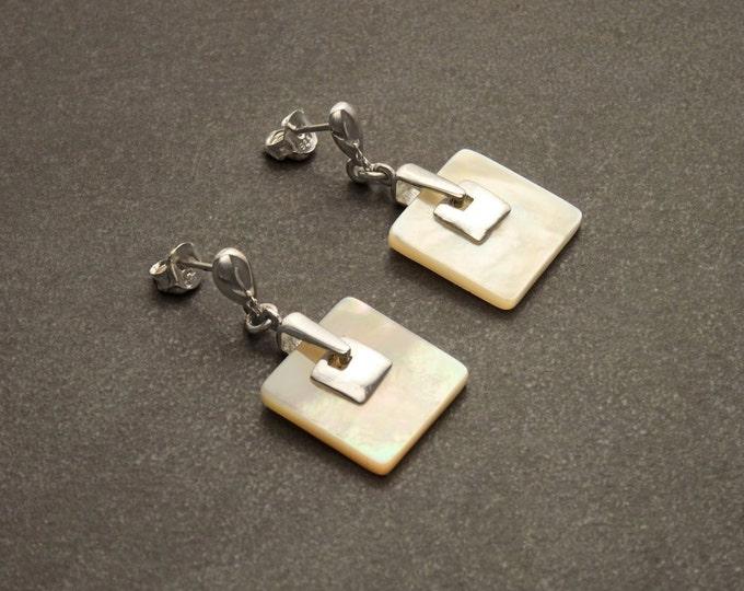 White Square Earrings, Sterling Silver, Genuine Mother of Pearl Shell Jewelry, Geometric Dangle Earrings, Woman Modern Earrings