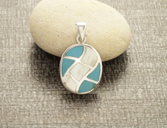 Turquoise, Pendant, Sterling Silver, Blue, White, Oval Mosaic, Mother of Pearl, Shell, Modern, Unique, Jewelry, Sterling Pendant. Gift, 925.