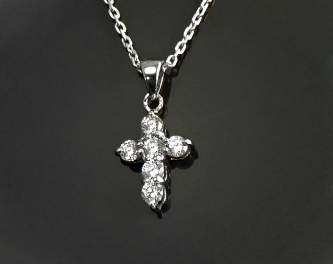 Small Silver Cross Necklace, Sterling Silver, Cz stones, Christian Cross Jewelry, Religious Sign Charm, Dainty Crucifix Pendant Pendant