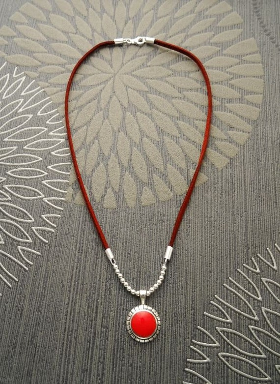 Boho Choker Necklace - Brown Leather Necklace - Sterling Silver Pendant - Red Pendant - Oxidized - Boho Necklace - Hipster - Native Inspired