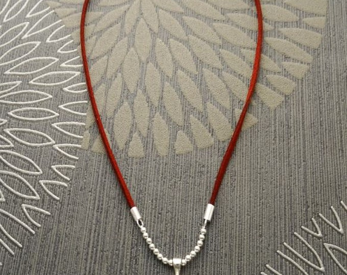 Red Round Necklace, Brown Leather Necklace, Sterling Silver, Red Stone Pendant for Necklace