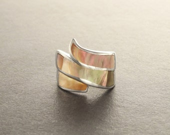 Brown Infinity Ring, Sterling Silver, GENUINE Gold Paua Shell Pearl with Iridescent Rainbow Highlights, Wide Geometric Spiral Wave Design
