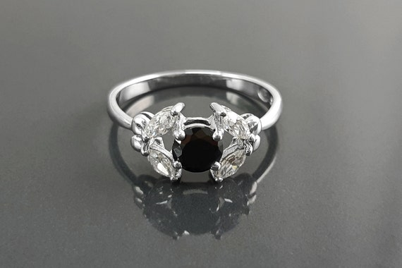 Halo Black Solitaire Ring, Sterling Silver, Lab Black Color Diamonds Stone Simulant (CZ), Modern Minimalist Stone Jewelry, Woman Ring