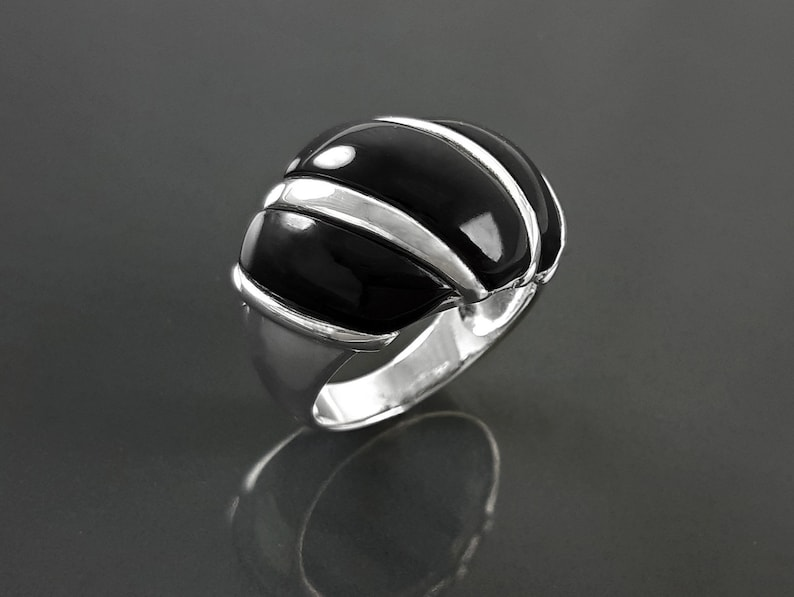 Onyx Domed Ring Sterling Silver Women Beautiful Dome Ring image 0