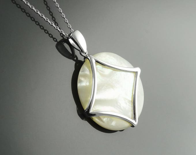 White Round Necklace, Sterling Silver, White Mother of Pearl Shell, Minimalist Geometric Stone Pendant, Bold Statement Over Size jewelry