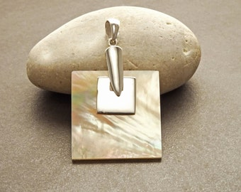 Square Pendant Necklace, Sterling Silver 925,  Genuine Brown Color Mother of Pearl Paua Shell, Statement Modern Geometric Minimalist design