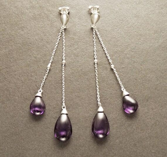 Amethyst  Earrings - Sterling Silver - Post Earrings - Chainmaille Earrings - Briolette - Amethyst Color - Boho Earrings - Teardrop earrings