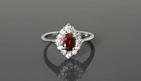 Red White Ring, Sterling Ring, Lab Red Ruby simulant (CZ), Lab Diamonds simulant (CZ), Cluster Ring, Engagement Ring, Valentines Day Gift