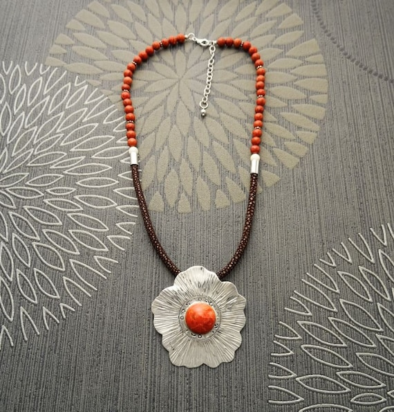 Coral Necklace with Silver, Sterling Silver Pendant, Hibiscus Flowers Pattern, Genuine Coral, Jasper Cabochon. Stingray Leather. Unique.