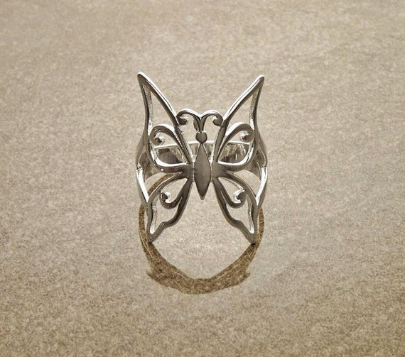 Modern Butterfly ring, Sterling Silver, Filigree Wing Ring, Insect Jewelry, Nature Ring, Butterflies Ring, Boho Ring, Butterfly Wings Ring