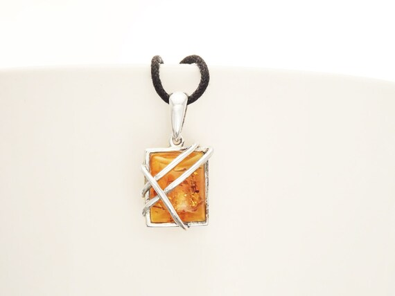Genuine Amber Pendant, Sterling Silver Pendant, Square shape, Amber Gemstone Jewelry, Modern Intricate Filigree Design, Dainty Pendant.