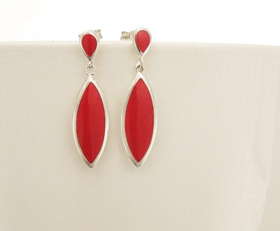 Red Dangle Earrings - Sterling Silver Earrings, Red Earrings, Almond Shape, Bright Red Earrings, Dainty Earrings, Red Jewelry, Modern Design
