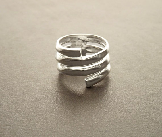 Infinity Wrap Ring, Sterling Silver, Coiled Ring, Bypass Ring, Cuff Ring, Spring Ring, Spiral Ring, Wrapped Ring, Open Ring, Wide Large Ring