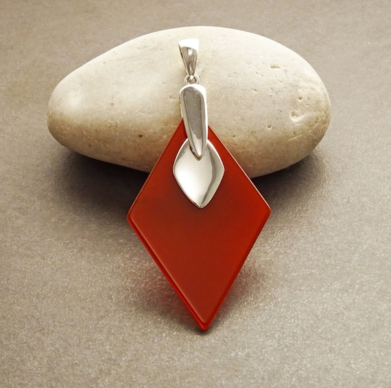 Statement Red Agate Pendant - Modern Sterling Silver 925 Diamond Shape Pendant Set with Red Agate - Designer Pendant