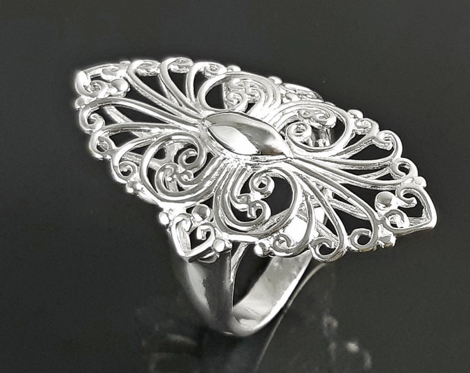 Armor Ring, Sterling Silver, Filigree Marquise Lace Ring with French Versailles Castle inspired Design, Vintage jewelry