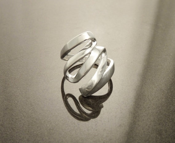 Swirling Ring, Sterling Silver, Hand Forged Ring, Modern Ring, Minimalist Ring, Designer Jewelry, Swirl, Squiggle, Interweave, Infinity Ring