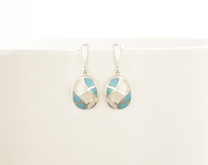 Turquoise Earrings, Sterling Silver, Blue and White Stones, Mother of Pearl Shell and Turquoise Stone, Modern Geometric Oval Mosaic Jewelry