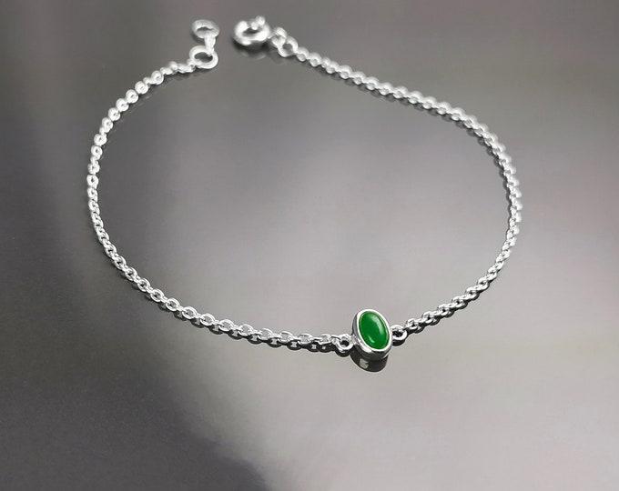 Tiny Jade Bracelet, Sterling Silver, Modern Minimalist Bracelet, Small Green Oval Stone, Genuine Jade Gemstone, Dainty Small Jewelry