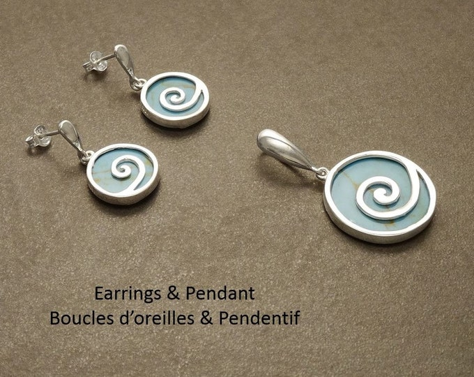Turquoise jewelry, earrings and pendant set, dangle earrings, sterling silver jewelry, spiral, blue turquoise, modern style