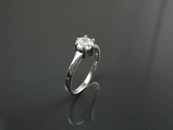 1ct Classic Solitaire Engagement Ring, Round Man Made Lab Diamond Simulant, 6 Prong Wedding Ring, Bridal Ring, Promise Ring, Sterling Silver