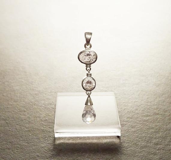 White Zirconias Silver Pendant - Sterling Silver Pendant - White Cubic Zirconia - Long silver Pendant - White Set , Bride, bridal wedding