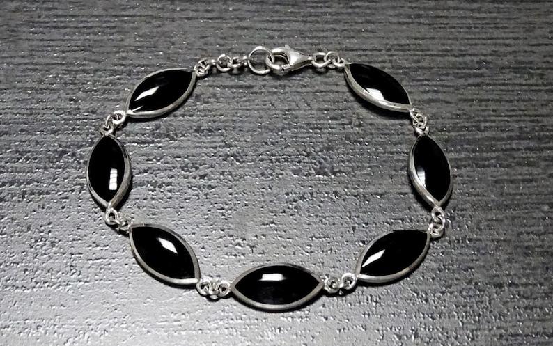 Black Stones Bracelet Sterling Silver Onyx Gemstone image 0