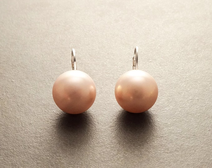 Pink Round Earrings, Sterling Silver, GENUINE Shell Pearl, Lever Back 12 mm Diameter Pearl Balls, Minimalist Jewelry, Woman Gift