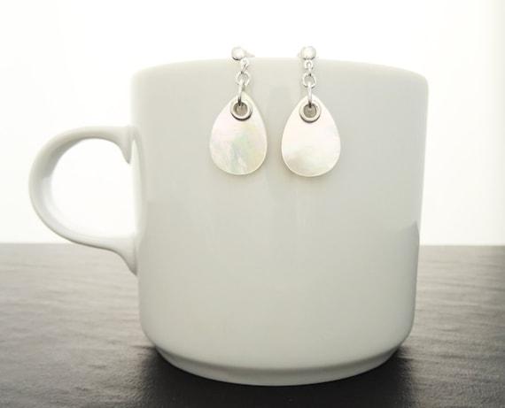 White MOP Earrings - Sterling Silver Earrings, White  Earrings, Tearsdrop, Bright MOP  Earrings, Dainty Earrings,MOP Jewelry. Fashion, Gift.