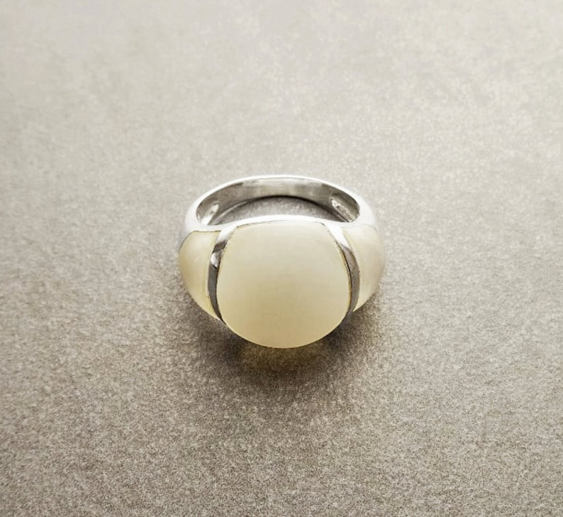 White Band Ring  Sterling Silver  Dome Ring  Mother of image 0