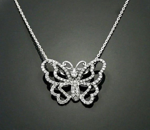Great Diamond Butterfly Necklace, Sterling Silver, Lab Diamonds Simulant, Modern Butterflies Design Charm, Nature Jewelry Mother's day Gifts