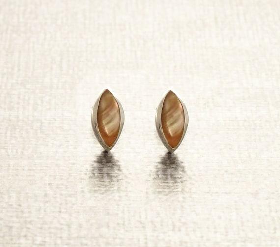 GENUINE Brown Paua Shell Oval Stud Earrings, Sterling Silver, Iridescent Pearl Rainbow Highlights, Geometric Minimalist Dainty Earrings