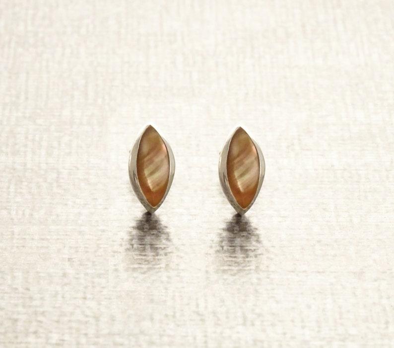 Oval Stud Earrings Sterling Silver GENUINE Brown Paua Shell image 0